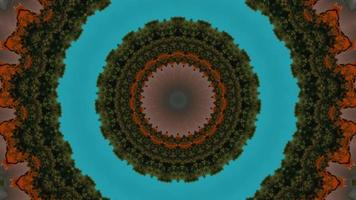 Circular Abstract Bright Teal Circular with Forested Texture Green Kaleidoscope video