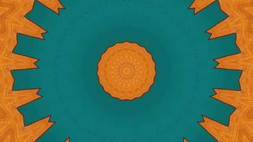 Solid Teal and Vibrant Orange Kaleidoscopic Element video