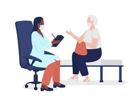 Old lady consulting with physician semi flat color vector characters