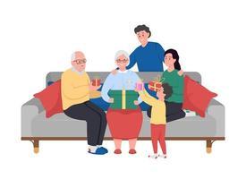 Big family celebrating grandma birthday flat color vector characters