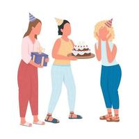 Girls presenting birthday surprise for friend flat color characters vector
