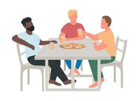 Adult men drinking beer together semi flat color vector characters