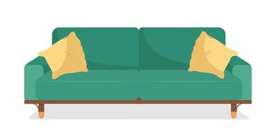 Green sofa with pillows semi flat color vector object