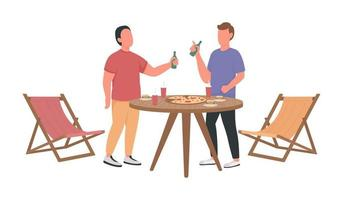 Male friends exchanging news semi flat color vector characters
