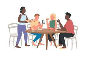 Visit fast food restaurant with friends flat color vector characters