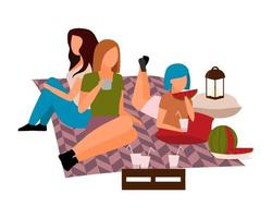 Female friends enjoying outdoor picnic flat color vector characters