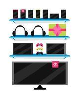 Electronics store semi flat color vector object