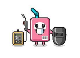 Character mascot of milk box as a welder vector