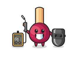 Character mascot of matches as a welder vector