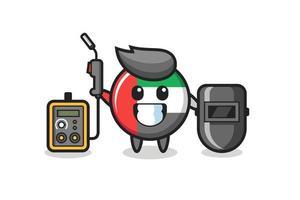 Character mascot of uae flag badge as a welder vector