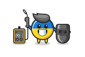 Character mascot of ukraine flag badge as a welder vector