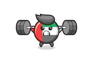 dibujos animados de la mascota de la insignia de la bandera de los emiratos árabes unidos con una barra vector