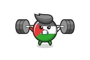 Palestina insignia de la bandera de la mascota de dibujos animados con una barra vector