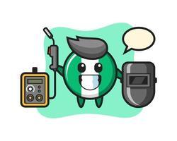 Character mascot of nigeria flag badge as a welder vector
