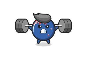 dibujos animados de la mascota de la insignia de la bandera de nueva ze vector