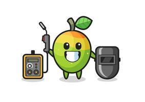 Character mascot of mango as a welder vector