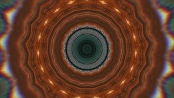 anneaux concentriques brun cuivre sur élément kaléidoscopique vert video