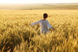 Woman in a wheat field photo