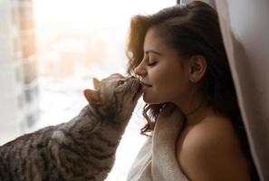 Big cat kisses a pretty girl photo
