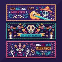 Set of Dia de los Muertos Banners vector
