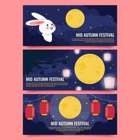Mid Autumn Festival Banner Pack vector
