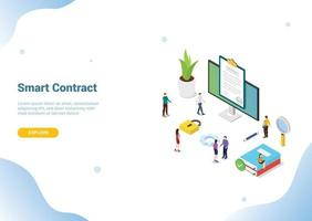 isometric electronic digital contract concept for website template vector