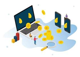 business online technology profit with gold coin from laptop vector