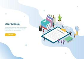 user manual book concept with people and some guide on the clipboard vector
