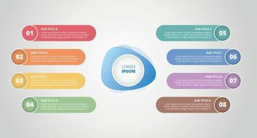 infographic 8 step process list with center title banner vector