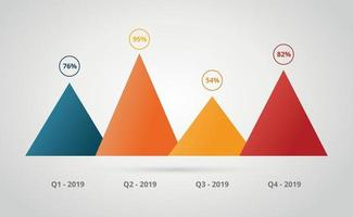 pyramid area chart or graph infographic with percentage data i vector