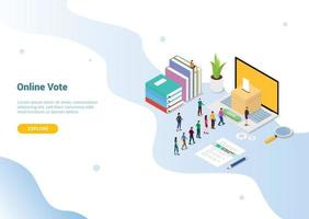 isometric 3d online vote concept with people queued up vector