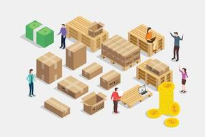 shipping shipment business concept with team people and delivery rack vector