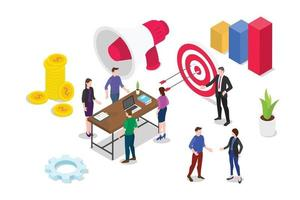 isometric 3d business strategy concept vector