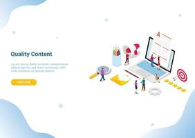 high quality content concept with team people editor vector