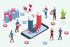 isometric viral content social media marketing team people vector