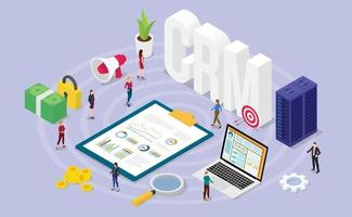 crm customer relationship manager concept with team people vector