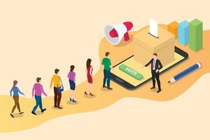 isometric 3d online vote concept with people queued vector