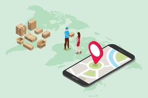 isometric 3d online delivery service concept with people vector