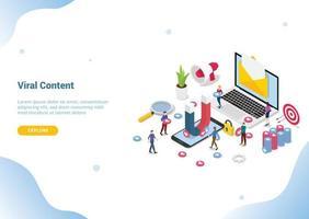 isometric viral content social media marketing web vector