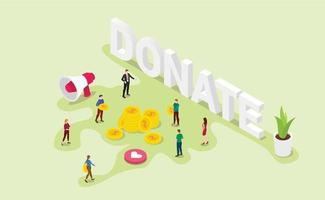donation concept with team people give money or share vector