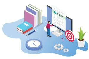 isometric 3d online exam or course concept with books vector
