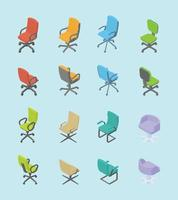 chair set collection for office with isometric modern style vector