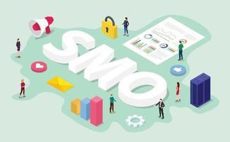 smo social media optimization concept with team it digital vector