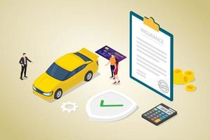 car insurance concept with car and contract paper vector