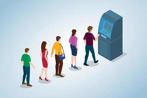 atm queue concept with people men and woman vector