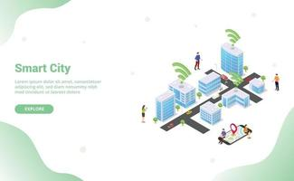 smart city concept with big buildings and team people vector