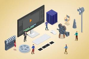 video editing production concept with team people vector