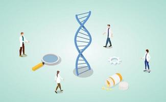 dna helix analysis concept with team doctor research vector