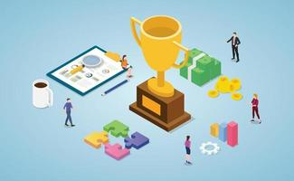 team success winner with big golden trophy for finance money vector