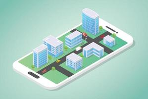 isometric city on top of the smartphone with building vector